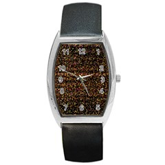 Colorful And Glowing Pixelated Pattern Barrel Style Metal Watch by Amaryn4rt