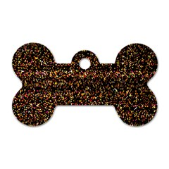 Colorful And Glowing Pixelated Pattern Dog Tag Bone (two Sides) by Amaryn4rt