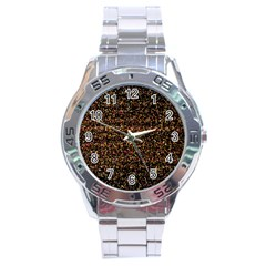 Colorful And Glowing Pixelated Pattern Stainless Steel Analogue Watch by Amaryn4rt