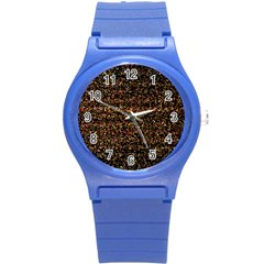 Colorful And Glowing Pixelated Pattern Round Plastic Sport Watch (s) by Amaryn4rt