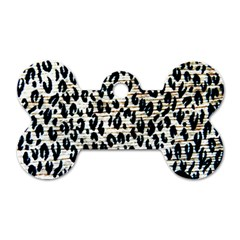 Tiger Background Fabric Animal Motifs Dog Tag Bone (two Sides) by Amaryn4rt