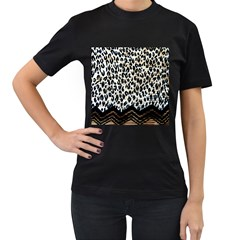 Tiger Background Fabric Animal Motifs Women s T-shirt (black) by Amaryn4rt