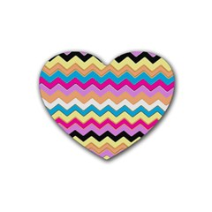 Chevrons Pattern Art Background Rubber Coaster (heart)  by Amaryn4rt