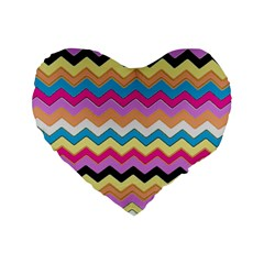 Chevrons Pattern Art Background Standard 16  Premium Flano Heart Shape Cushions by Amaryn4rt