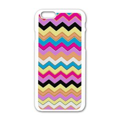 Chevrons Pattern Art Background Apple Iphone 6/6s White Enamel Case by Amaryn4rt
