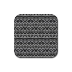 Greyscale Zig Zag Rubber Coaster (square)  by Amaryn4rt