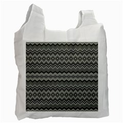 Greyscale Zig Zag Recycle Bag (two Side)  by Amaryn4rt