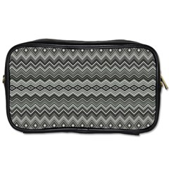 Greyscale Zig Zag Toiletries Bags 2 Side by Amaryn4rt