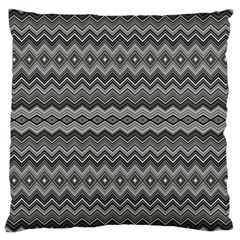 Greyscale Zig Zag Large Cushion Case (two Sides) by Amaryn4rt