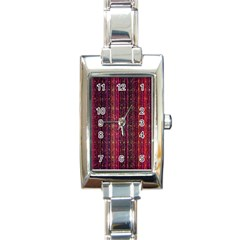 Colorful And Glowing Pixelated Pixel Pattern Rectangle Italian Charm Watch by Amaryn4rt