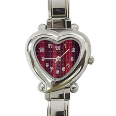 Colorful And Glowing Pixelated Pixel Pattern Heart Italian Charm Watch by Amaryn4rt