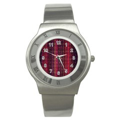 Colorful And Glowing Pixelated Pixel Pattern Stainless Steel Watch by Amaryn4rt