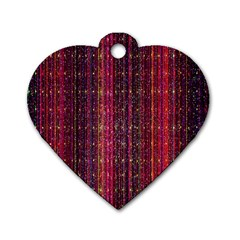 Colorful And Glowing Pixelated Pixel Pattern Dog Tag Heart (one Side) by Amaryn4rt