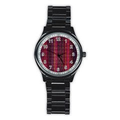 Colorful And Glowing Pixelated Pixel Pattern Stainless Steel Round Watch by Amaryn4rt