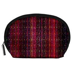 Colorful And Glowing Pixelated Pixel Pattern Accessory Pouches (large)  by Amaryn4rt