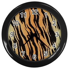 Tiger Animal Print A Completely Seamless Tile Able Background Design Pattern Wall Clocks (black) by Amaryn4rt