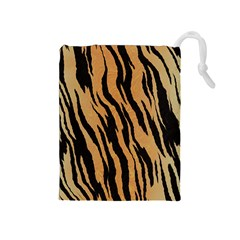 Tiger Animal Print A Completely Seamless Tile Able Background Design Pattern Drawstring Pouches (medium)  by Amaryn4rt