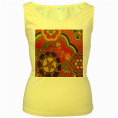Vintage Chinese Brocade Women s Yellow Tank Top
