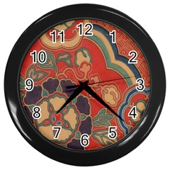 Vintage Chinese Brocade Wall Clocks (black) by Amaryn4rt