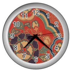 Vintage Chinese Brocade Wall Clocks (silver)  by Amaryn4rt