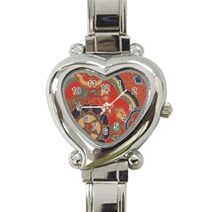 Vintage Chinese Brocade Heart Italian Charm Watch by Amaryn4rt