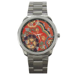 Vintage Chinese Brocade Sport Metal Watch by Amaryn4rt