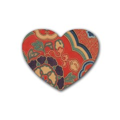 Vintage Chinese Brocade Rubber Coaster (heart)  by Amaryn4rt