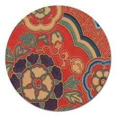 Vintage Chinese Brocade Magnet 5  (round) by Amaryn4rt
