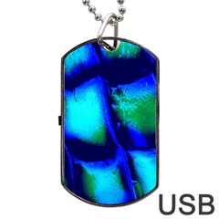 Blue Scales Pattern Background Dog Tag Usb Flash (two Sides) by Amaryn4rt