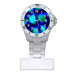 Blue Scales Pattern Background Plastic Nurses Watch by Amaryn4rt