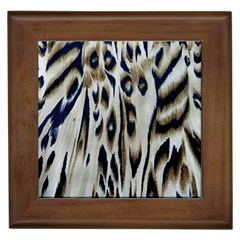 Tiger Background Fabric Animal Motifs Framed Tiles by Amaryn4rt