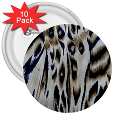 Tiger Background Fabric Animal Motifs 3  Buttons (10 Pack)  by Amaryn4rt