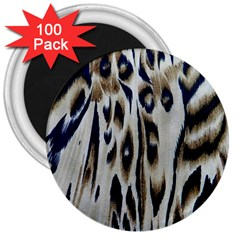 Tiger Background Fabric Animal Motifs 3  Magnets (100 Pack) by Amaryn4rt