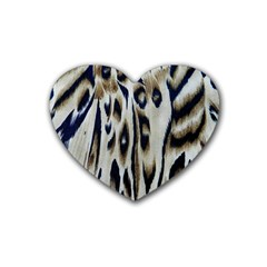 Tiger Background Fabric Animal Motifs Heart Coaster (4 Pack)  by Amaryn4rt