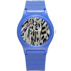 Tiger Background Fabric Animal Motifs Round Plastic Sport Watch (s) by Amaryn4rt