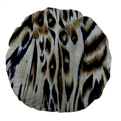 Tiger Background Fabric Animal Motifs Large 18  Premium Round Cushions by Amaryn4rt