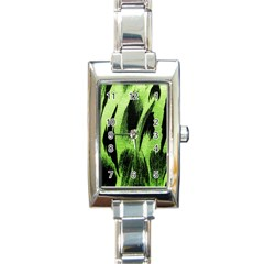 Green Tiger Background Fabric Animal Motifs Rectangle Italian Charm Watch by Amaryn4rt