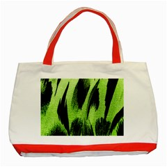 Green Tiger Background Fabric Animal Motifs Classic Tote Bag (red) by Amaryn4rt