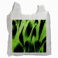 Green Tiger Background Fabric Animal Motifs Recycle Bag (two Side)  by Amaryn4rt