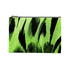 Green Tiger Background Fabric Animal Motifs Cosmetic Bag (large)  by Amaryn4rt