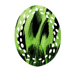 Green Tiger Background Fabric Animal Motifs Ornament (oval Filigree) by Amaryn4rt