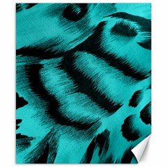 Blue Background Fabric Tiger  Animal Motifs Canvas 8  X 10  by Amaryn4rt