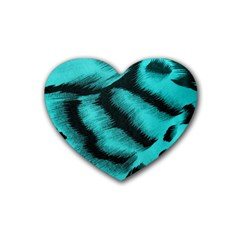 Blue Background Fabric Tiger  Animal Motifs Heart Coaster (4 Pack)  by Amaryn4rt