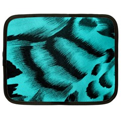 Blue Background Fabric Tiger  Animal Motifs Netbook Case (xl)  by Amaryn4rt