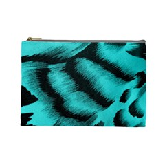 Blue Background Fabric Tiger  Animal Motifs Cosmetic Bag (large)  by Amaryn4rt