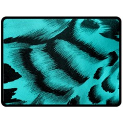 Blue Background Fabric Tiger  Animal Motifs Fleece Blanket (large)  by Amaryn4rt