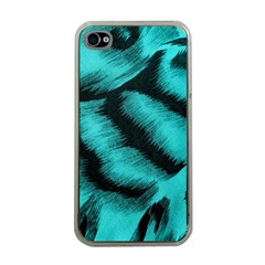 Blue Background Fabric Tiger  Animal Motifs Apple Iphone 4 Case (clear) by Amaryn4rt