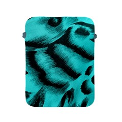 Blue Background Fabric Tiger  Animal Motifs Apple Ipad 2/3/4 Protective Soft Cases by Amaryn4rt
