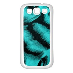 Blue Background Fabric Tiger  Animal Motifs Samsung Galaxy S3 Back Case (white) by Amaryn4rt