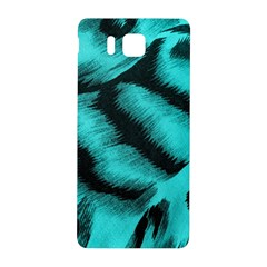 Blue Background Fabric Tiger  Animal Motifs Samsung Galaxy Alpha Hardshell Back Case by Amaryn4rt